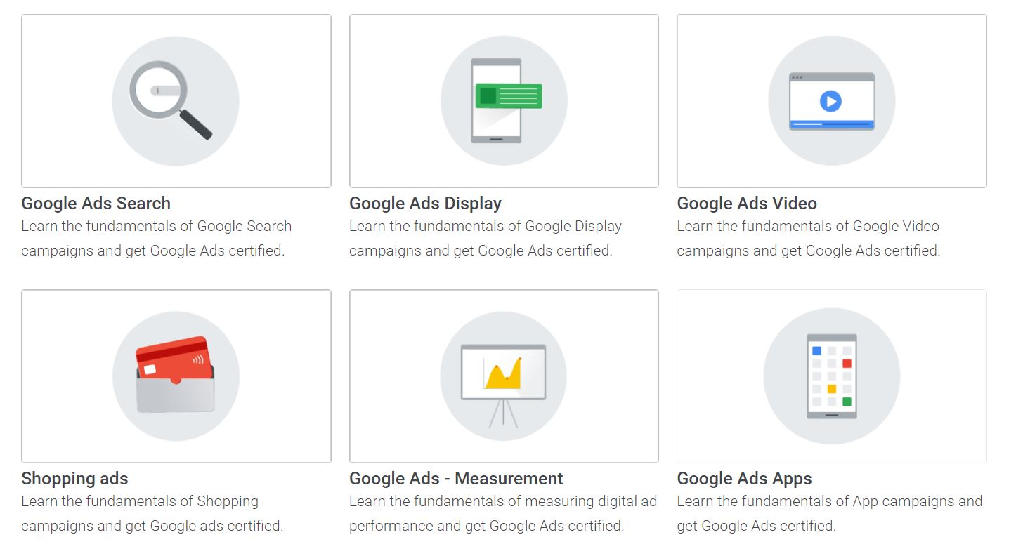 The six different Google Ads qualifications