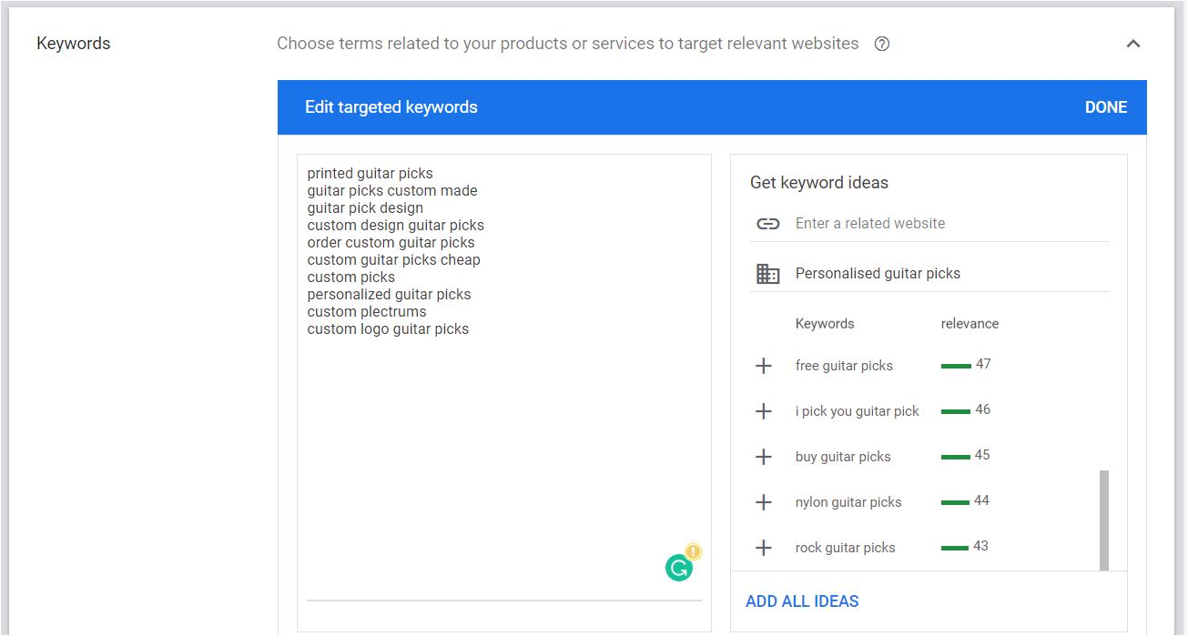 Selecting a list of targeted Keywords in Google Ads