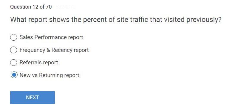 "What report shows the percent of site traffic that visited previously?"" Answer is New vs Returning report"
