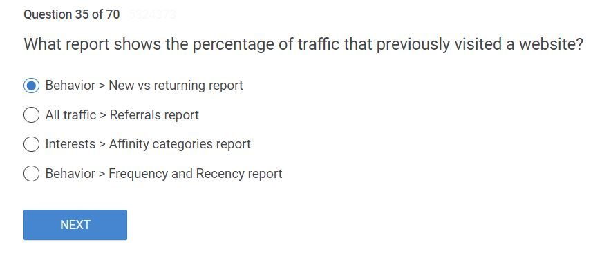 """what report shows the percentage of traffic that previously visited a website? answer is New vs returning report.."